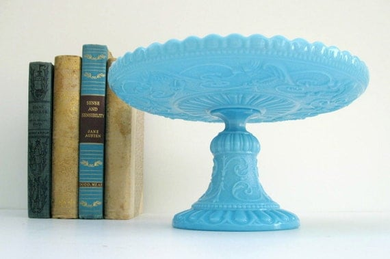 Pedestal Cake Stand - Portieux Vallerysthal in Blue Opaline Milk Glass - Made in France