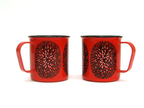 Pair of Kaj Franck Enamel Cup - Red with Black and White Tree -Mid Century Finel Enamelware - Made in Finland