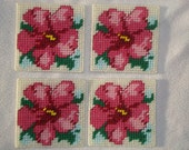 Hibiscus Coasters-Set of 4 Pink Hibiscus Plastic Canvas Coasters, Hawaii