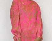1960s SUZY PERETTE New York chiffon paisley tea length dress. size small medium redux vintage