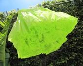 Vintage. 1970s.  Key Lime Ruffled Lace Crinoline Petticoat - treasury item :)