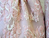 Redux Vintage 1980s Nahdree by VICTOR COSTA Lace Overlay Suit. Modern Luxury in Whisper Pink
