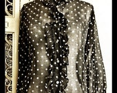 1960s sheer black & white polka dot tuxedo shirt redux vintage