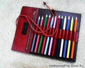100% hand stitched handmade red cowhide leather pencil / marker case / holder