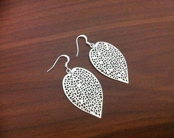 Abstract Leaf Silver Earrings