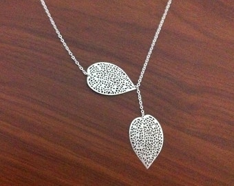 Leaf Lariat Necklace, Silver