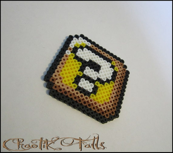 Pixel Art Mario Question Block Perler Beads