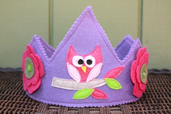 Owl on Tree Branch Felt Crown