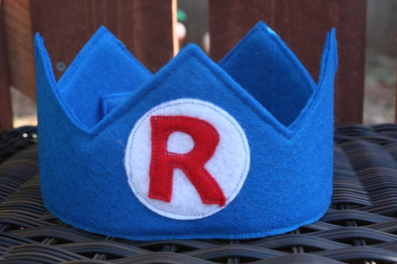 Personalized Traditional Blue Felt Crown With Initial