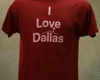Vintage 70s CHAMPION BLUE BAR I Love Dallas T Shirt Large