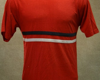 Vintage 70s CHAMPION BLUE BAR Red White Blue Striped T Shirt Large