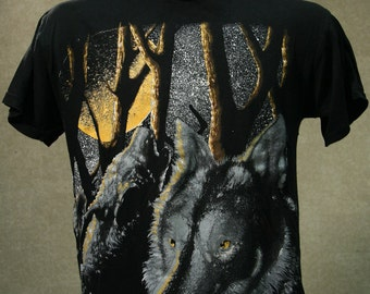 Vintage 80s WOLF Forest Moon Black T Shirt Large