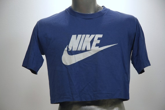 Vintage 80s NIKE Blue Tag Crop Top T Shirt Large