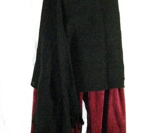 SALE Black stripy Steampunk Goth HIP SCARF wrap skirt Tribal Fusion costume Belly Dance accessory 100% cotton Reenactment fantasy Larp