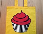 Yellow Cotton Shopping Bag with Raspberry Cupcake Print
