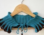 Hand Knit Teal Collar Capelet with Brown Wooden Beaded