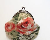 vintage rose pattern clasp purse / coins bag / clutch handmade gift  - pink rose and cream