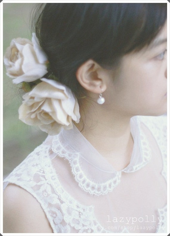 BIG vintage inspired ivory silk rose flower 2 way hair clips / brooch best for wedding, bride or decoration in your house