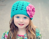 Girls Hat, Flower Cap, Crochet Beanie, Choose Colors, Many Sizes, Quick Shipping