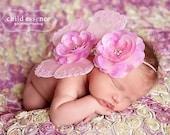 Newborn pink butterfly wings baby girls flower headband matching set photo prop