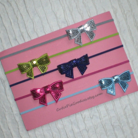 Baby Bows, Infant Headbands, Choose 3 Colors, Sparkle Bows, Set Of Three, All Sizes