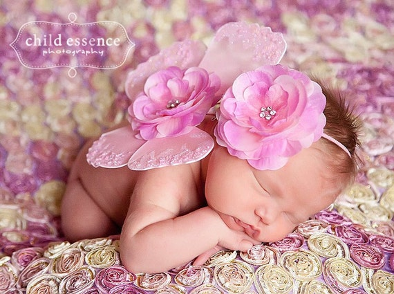 Newborn pink butterfly wings baby girls flower headband matching set photo prop