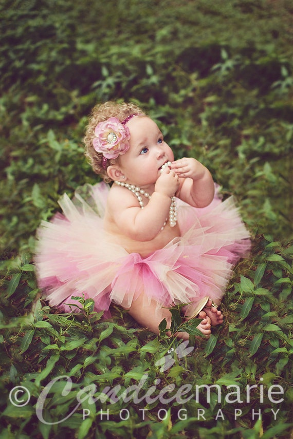 Baby Tutu, Beige Dusty Rose, Flower Headband, Pearl Center, Infant Tutu, Toddler Tutu, Many Sizes, Quick Shipping