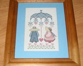 Vintage Finished Counted Cross Stitch Sunbonnet Sue and Sam