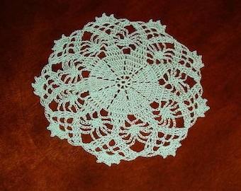 Hand Crocheted 9 Inch Light Green Doily