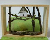 Treehouse Woodland Book Diorama with Real Natural Found Materials