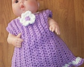 6-12 month Ruffled Sundress and Diaper Cover - purple and cream