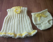6-12 month Ruffled Sundress and Diaper Cover - yellow