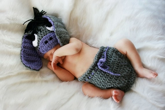 0-3 Month Donkey Hat and Diaper Cover Set - Photo Prop