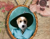 Jack Russell Terrier Jewelry Pendant - Brooch Handcrafted Porcelain Dog Jewellery by Nobility Dogs