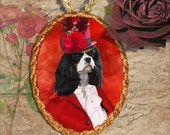 Cavalier King Charles Spaniel Pendant Necklace Handcrafted Ceramic - Brooch Optional by Nobility Dogs