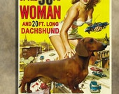 Dachshund Vintage Movie Style Poster Canvas Print   - Attack of the 50 Foot Woman Movie Poster