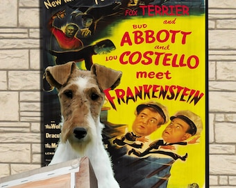 Fox Terrier Wire Vintage Movie Style Poster Canvas Print  NEW Collection by Nobility Dogs