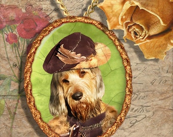 Otterhound Jewelry Brooch Handcrafted Ceramic PENDANT OPTINAL by Nobility Dogs