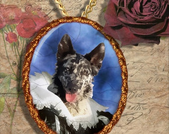 Mudi Jewelry Brooch Handcrafted Ceramic PENDANT OPTINAL by Nobility Dogs