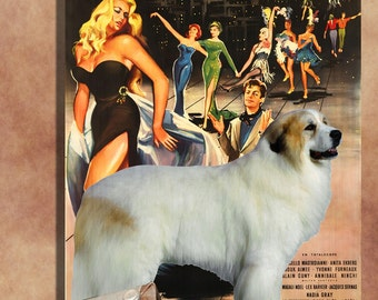 Great Pyrenees Vintage Art Poster Canvas Print  - La Dolce Vita Movie Poster NEW Collection by Nobility Dogs