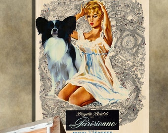 Papillon Vintage Movie Style Poster Canvas Print  NEW Collection by Nobility Dogs