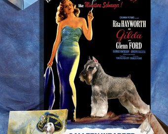 Miniature Schnauzer Vintage Poster Canvas Print - Gilda Movie Poster NEW Collection by Nobility Dogs