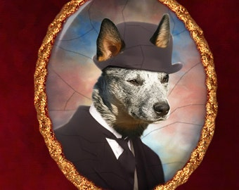 Australian Cattle Dog Jewelry - Pendant - Brooch - Handcrafted Porcelain - Dog Jewellery – Dog Pendant – Dog Brooch by Nobility Dogs