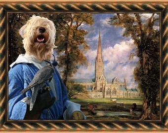 Soft Coated Wheaten Terrier Art CANVAS Print Fine Artwork of Nobility Dogs Dog Portrait Dog Painting Dog Art Dog Print