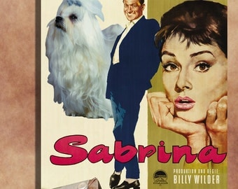 Maltese Vintage Art Poster Canvas Print  - Sabrina Movie Poster  Perfect DOG LOVER GIFT Gift for Her Gift for Him Home Decor