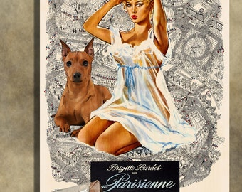 Miniature Pinscher Vintage Movie Style Poster Canvas Print  NEW Collection by Nobility Dogs