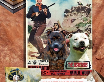 Staffordshire Bull Terrier  Vintage Canvas Print - The Searchers Movie Poster Perfect DOG LOVER GIFT Gift for Her Gift for Him Home Decor