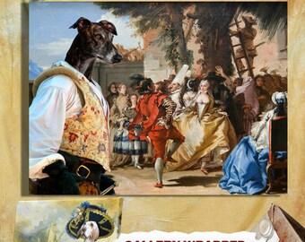 Greyhound Art CANVAS Print Fine Artwork of Nobility Dogs Dog Portrait Dog Painting Dog Art Dog Print