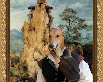 Greyhound ART Print/Greyhound Portrait/CANVAS Print/Fine Artwork/Dog Painting/Dog Art Print/Custom Dog Art - Portrait By Nobility Dogs