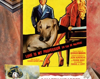 Sloughi Vintage Poster Canvas Print - Love Is My Profession Movie Poster NEW Collection by Nobility Dogs